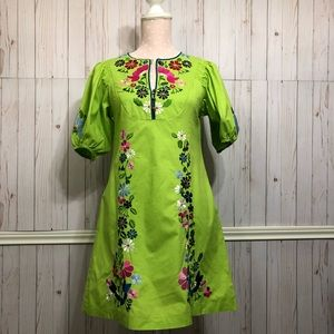 Nanette Lepore Lime Floral embroidered summer dres
